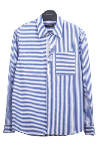 unbalance two poket stripe shirt