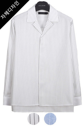 stripe hidden convertible linen shirt[화이트/블루]