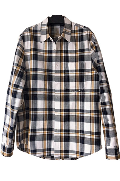 brown pocket check shirt