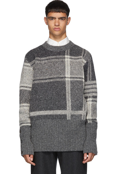 plaid crewneck pullover